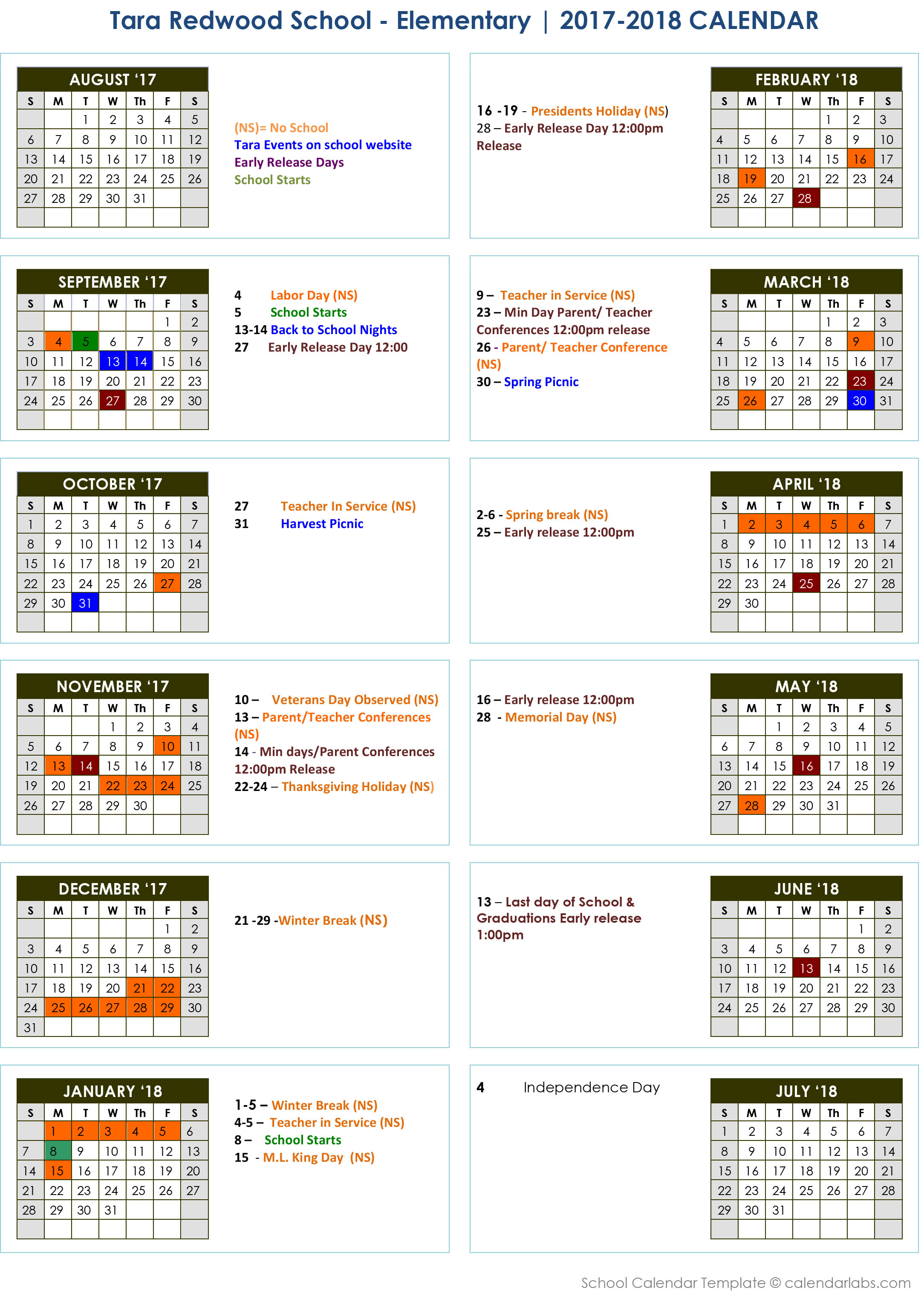 Tara Redwood School Elementary School Calendar