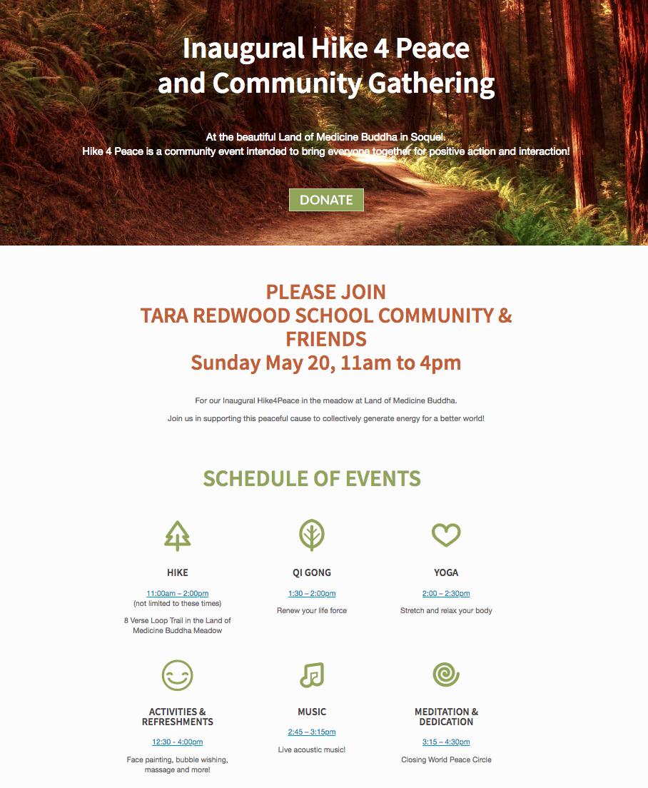 Hike 4 Peace fundraiser for Tara Redwood School