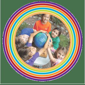 Tara school children with globe