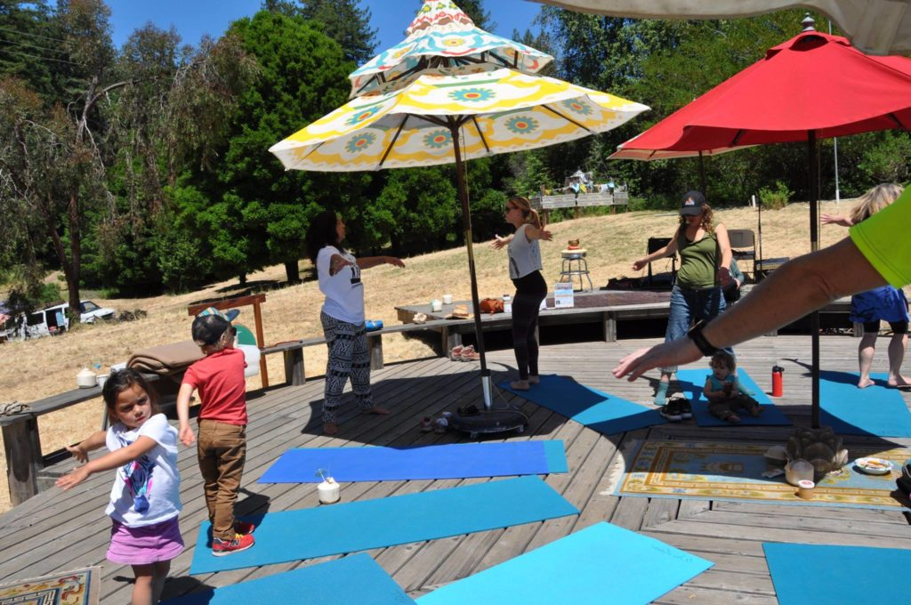 Yoga on the platform.Hike for Peace, School Open house .